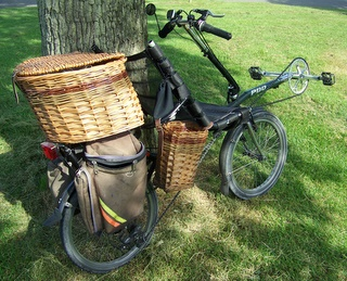 Basket mounted on Pashley PDQ recumbent bicycle