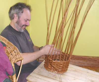 David Hembrow making a basket