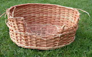 Basket damaged by dog before repair