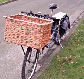 Delivery bicycle fitted with basket