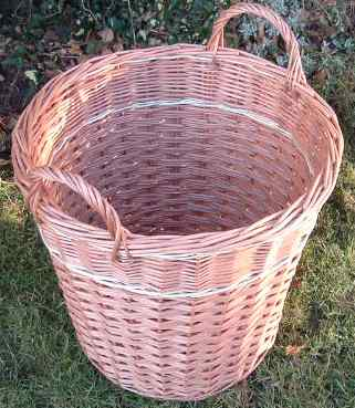 Picture of a log basket with stripe of white