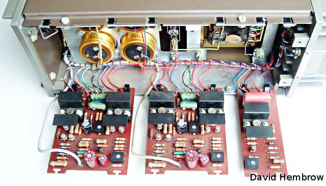 quad preamplifier quad power amplifier internal view of the quad 303 amplifier this is also a modular design two identical amplifier boards on the left for left and right channels and a