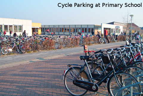 a2c72ceed Bicycles parked at school in the Netherlands. Cycling to school.